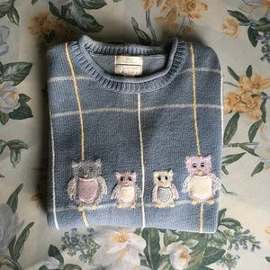 Cute Vintage Christopher & Banks Blue Owl Sweater